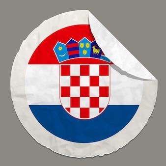 종이 라벨에 크로아티아 국기 기호