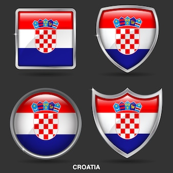 Croatia flags in 4 shape icon