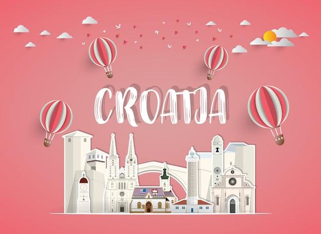 크로아티아 랜드 마크 글로벌 여행 및 여행 종이 배경.