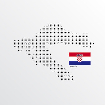 Croatia map design with flag and light background vector