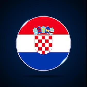 Национальный флаг хорватии значок кнопки круга. простой флаг, официальные цвета и правильные пропорции. плоские векторные иллюстрации.