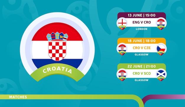 クロアチア代表チームのスケジュールは、2020年のサッカー選手権の最終段階で試合を行います。サッカー2020の試合のイラスト。