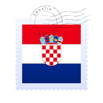 Croatia postage mark. national flag postage stamp isolated on white background vector illustration. stamp with official country flag pattern and countries name