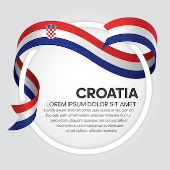 Croatia ribbon flag, vector illustration on a white background