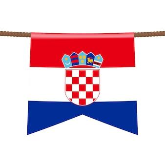 Дорожный знак хорватии. национальный флаг с названием страны на синей иллюстрации вектора дизайна доски дорожных знаков.