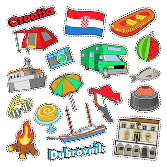 Croatia travel elements with architecture and ship. vector doodle