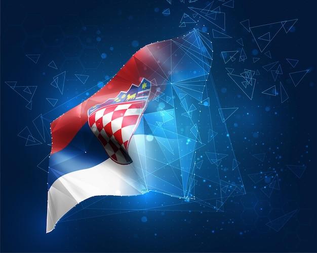 クロアチア、ベクトルフラグ、青い背景の三角形のポリゴンからの仮想抽象的な3dオブジェクト