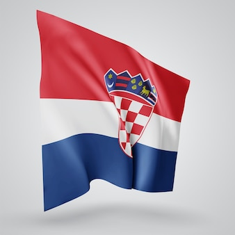 Croatia, vector flag with waves and bends waving in the wind on a white background.