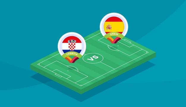 クロアチア対スペインラウンド16試合、欧州サッカー選手権2020ベクトルイラスト。サッカー2020チャンピオンシップマッチ対チームイントロスポーツの背景