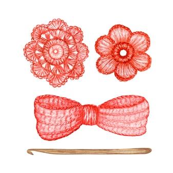붉은 나비, 꽃, 후크 손으로 만든 개념을 크로 셰 뜨개질. 수채화 손으로 그린 취미 뜨개질 및 뜨개질 도구 세트.