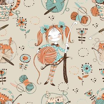 かぎ針編み。シームレスなパターン。かぎ針編みのフックを持つかわいい針編みの女性。ベクター。