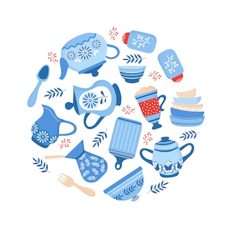 Crockery ceramic cookware. blue porcelain bowls, dishes and plates