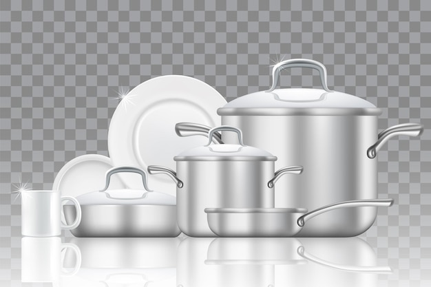 Crockery and cookware icon set.