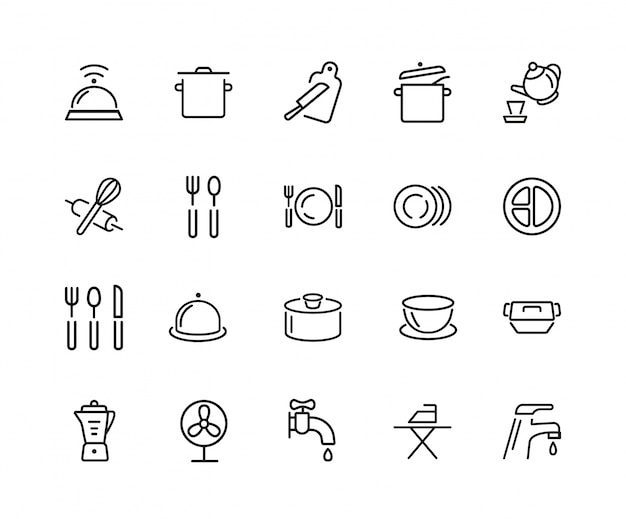Crockery icon set