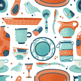 Crockery seamless pattern. home watercolor kitchen and cooking tableware bowl dish ceramic cup pitcher background