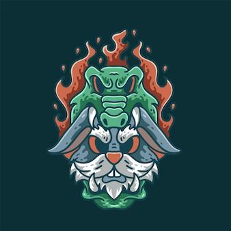 악어와 토끼 일러스트 디자인 빈티지 티셔츠