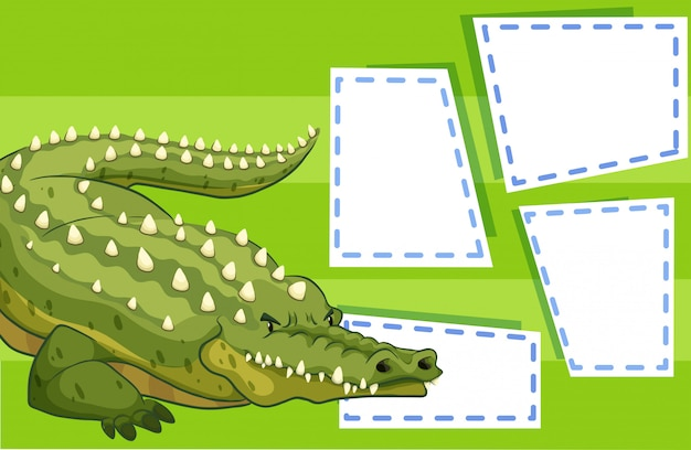 A crocodile on blank note