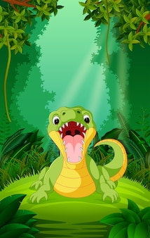 Crocodile in the clear and green forest