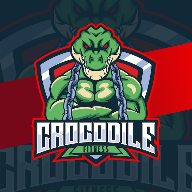 Crocodile fitness mascot character design with muscle badge and chain