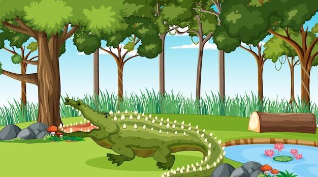 Un coccodrillo nella foresta in scena diurna con molti alberi