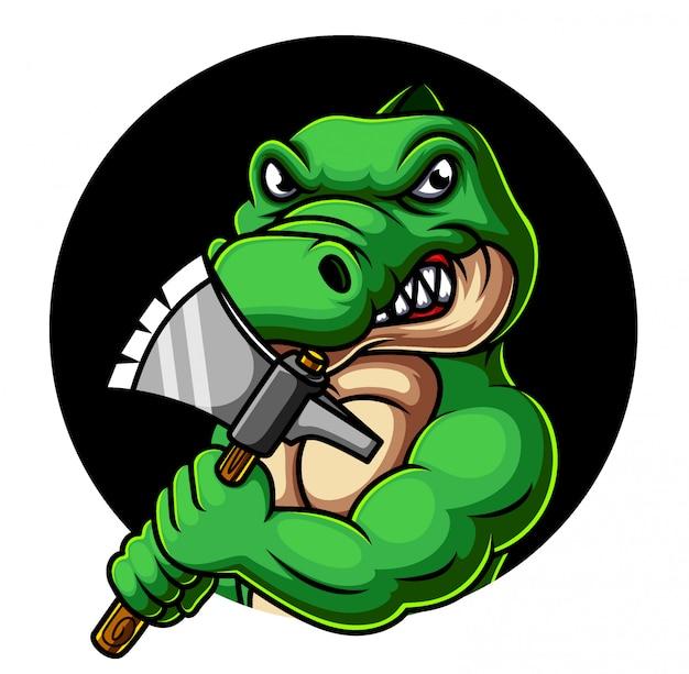 Крокодил держит топор талисман дизайн логотипа