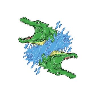 Crocodile logo with ambigram concept