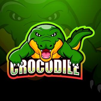 Крокодил талисман киберспорт иллюстрация