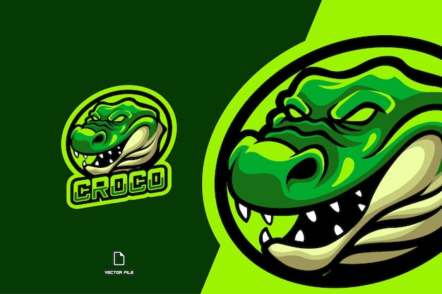 Крокодил талисман киберспорт логотип для игровой команды