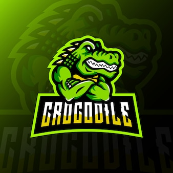 Crocodile mascot logo esport gaming illustration