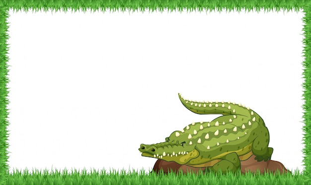 Un coccodrillo sulla cornice della natura