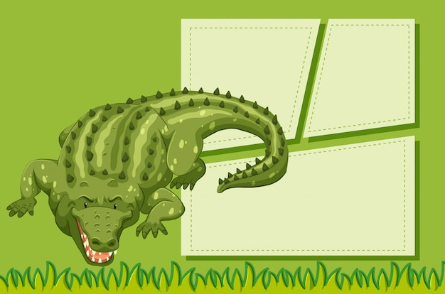 A crocodile on note background