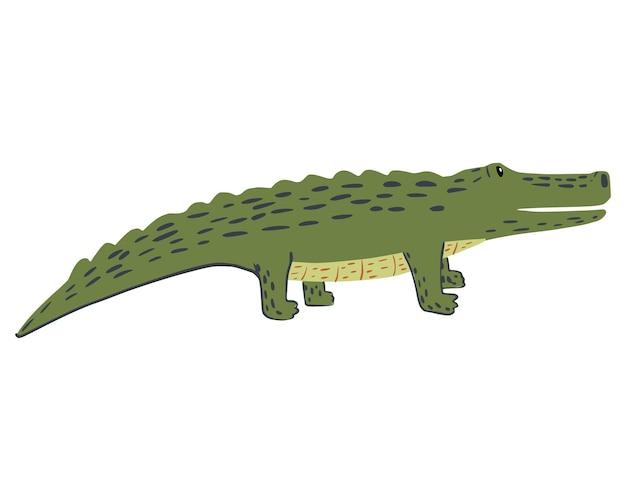 Крокодил на четырех лапах, изолированные на белом фоне. забавный мультяшный персонаж дикой природы в каракули векторные иллюстрации.