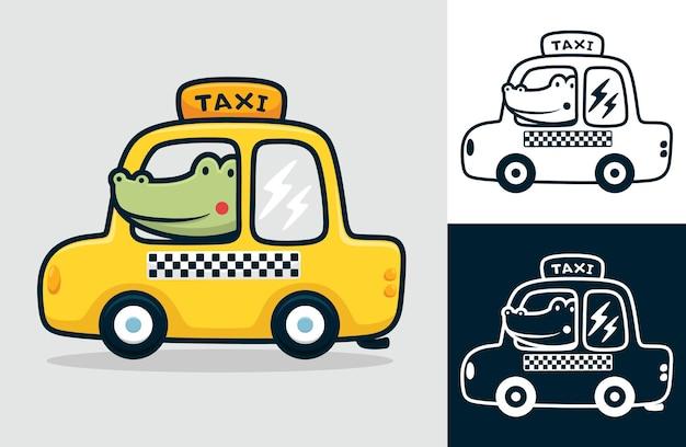 黄色いタクシーのワニ。フラットアイコンスタイルの漫画イラスト
