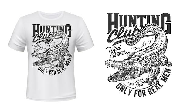 악어 또는 악어 티셔츠 프린트 화난 파충류