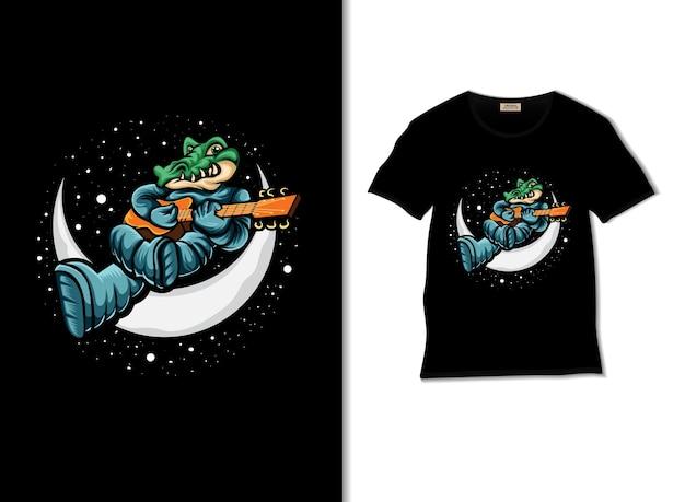 Крокодил играет на укулеле на луне иллюстрации с дизайном футболки