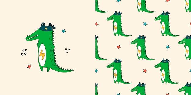 Crocodile seamless pattern. doodle with alligators.
