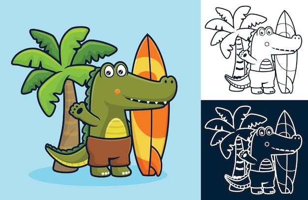 ココナッツの木の背景にサーフボードを保持しながら立っているワニ。フラットアイコンスタイルの漫画イラスト