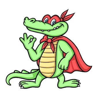 Crocodile superhero cartoon character