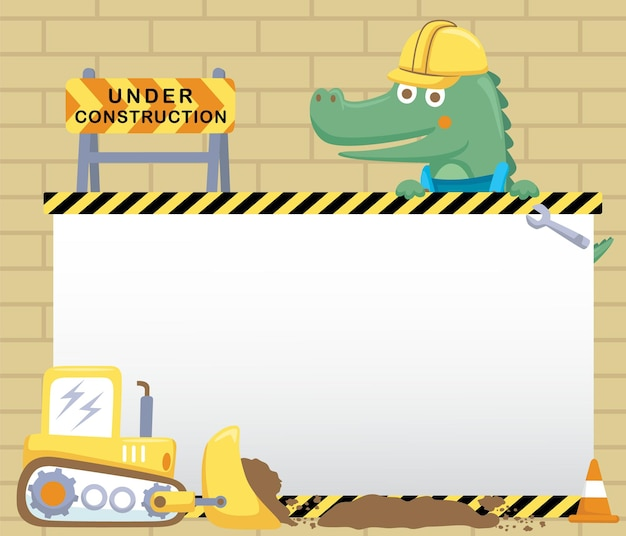 Of crocodile with construction element cartoon on card template