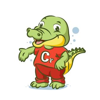 Крокодил с красной рубашкой с алфавитом c