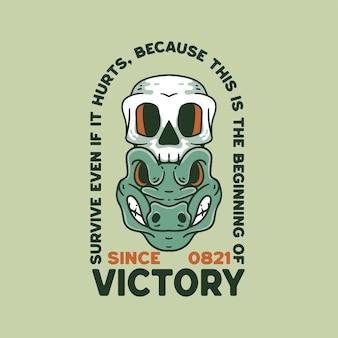 Крокодил с иллюстрацией черепа ретро стиль для дизайна футболки