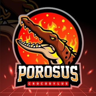 クロコダイルスポロサスのマスコット。 eスポーツロゴデザイン