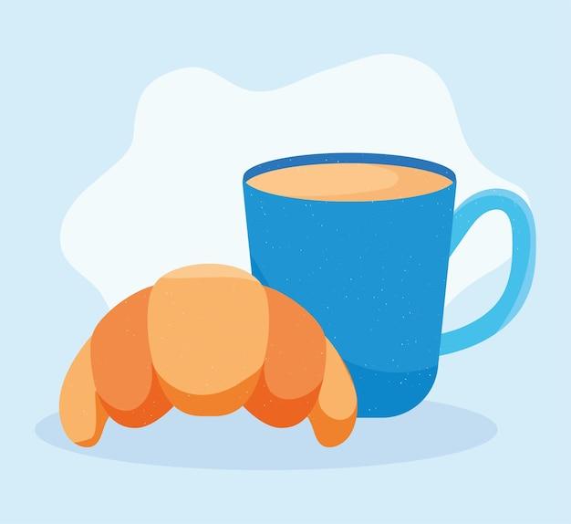 크루아상과 커피잔 일러스트