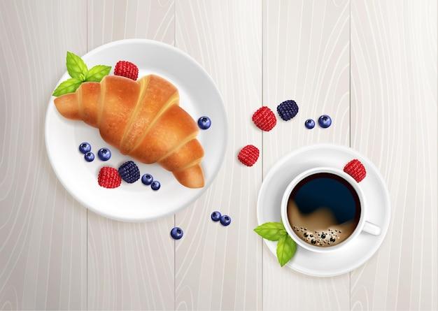 クロワッサン コーヒーの朝食のリアルなイラスト