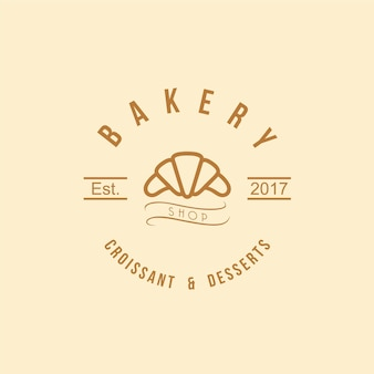 Croissant and desserts logo bakery logo vintage design vector illustration icon