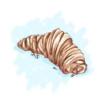 Круассан сбрызнут шоколадной или карамельной начинкой. десерты и сладости. эскизный рисунок руки