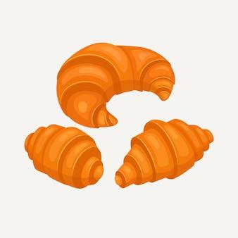 베이커리 숍 또는 음식 디자인을위한 크로 아이콘. 프랑스 식 아침 식사