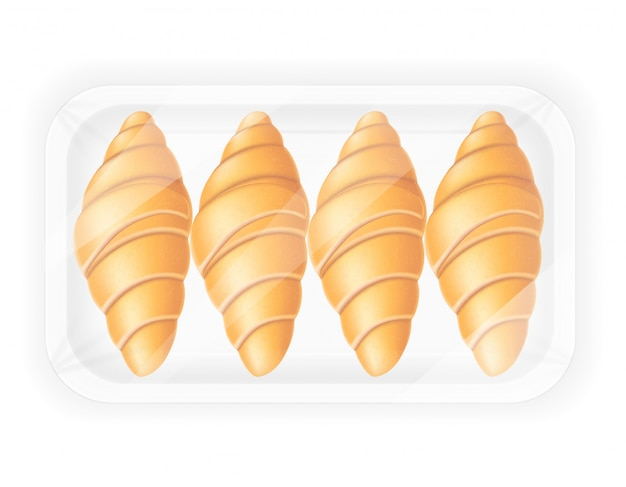Croissant in packaging vector illustration