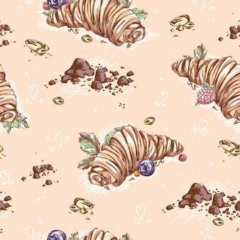 チョコレートのトッピングとベリーのクロワッサンパターン。食べ物の大ざっぱな手描き。菓子の背景。