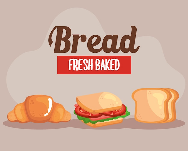 Сэндвич с круассаном и тосты из пекарни, продуктового магазина и завтрака.